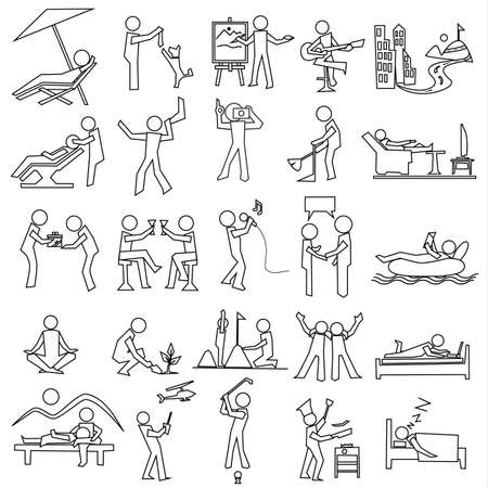 outline relaxation icon set, simple vector draw  イラスト・ベクター素材