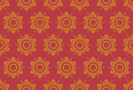 Thai pattern floral seamless on red vintage style background