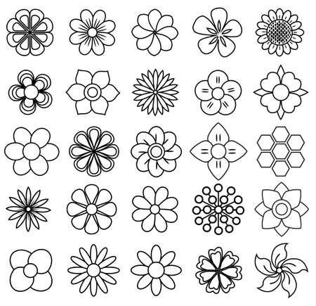 set di icone di fiori di contorno, disegno vettoriale
