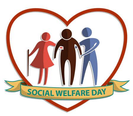 Día del Bienestar Social, signo de símbolo plano vectorial con anciano y mujer apoyando a los ancianos en el fondo del corazón