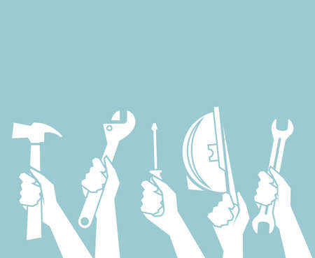 concept of repair and construction works, technical service with flat hand holding up hammer, spenner, screwdriver and hat on green vintage blank space