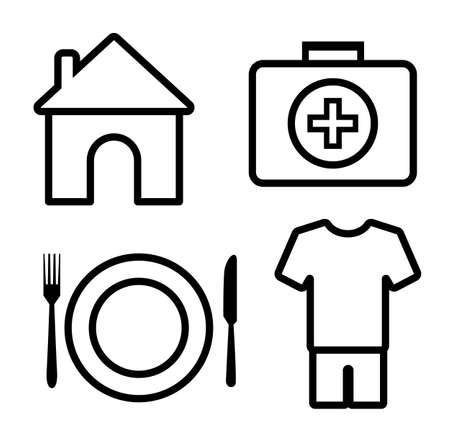 4 grundlegende menschliche Bedürfnisse Umrissikone, Vektorillustration