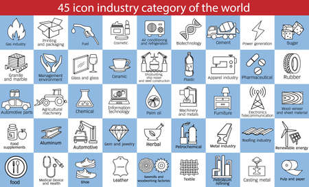 45 category industry symbol set of the world, vector outline icon