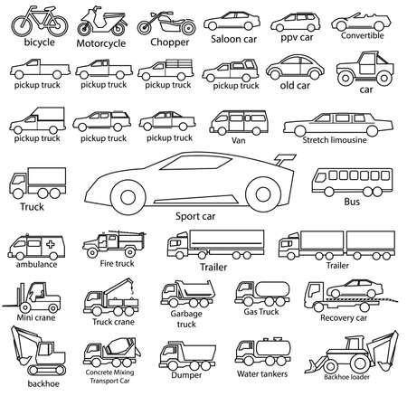 car icon set, vector outline automobile cars