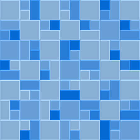 3D blue mosaic tile wall, vector illustration pattern background