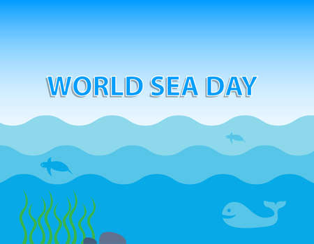 World Sea Day concept with whale and turtle under blue ocean