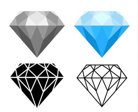 diamond vector set, blue, gray, icon and outline style on white background