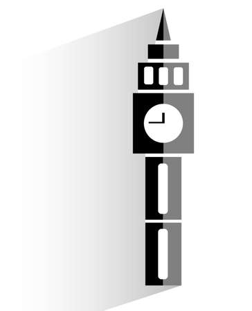 flat clock tower icon on white background