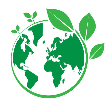 World Environment Day, green earth and leaf vector design