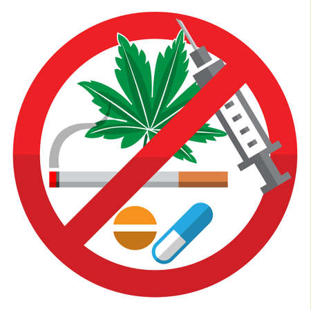 Against Drug Abuse Day flat sign on white background, vector