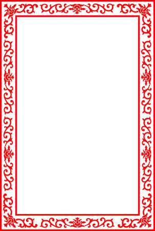 Chinese Royal floral border frame, red vector on white background Ilustrace