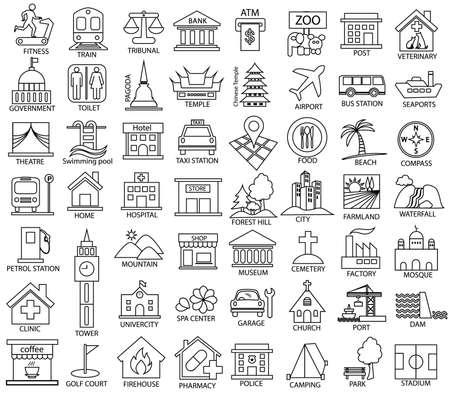 place map symbol icon set, vector outline of government, official, religious, cabaret, public health, travel, transport, relaxation, museum, airport, hospital, station, park, academy, gas station, stadium, city, dam