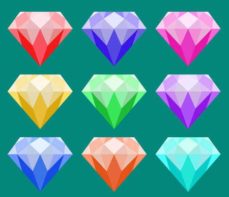 colorful diamond vector set, red, blue, purple, pink, yellow, green and orange Ilustrace