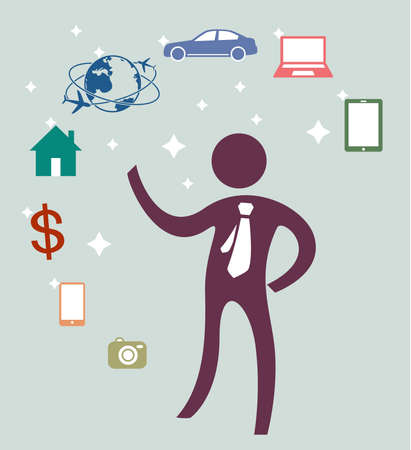 young businessman needs in the future of mobile, money, home, car, notebook, smartphone and travel around the world, vector icon symbol vintage color style Foto de archivo - 124923443