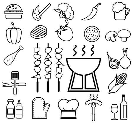 barbecue icon set line Reklamní fotografie - 124923458