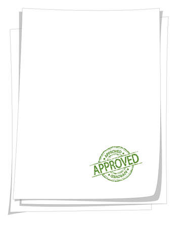 green approved stamp vintage style on blank paper