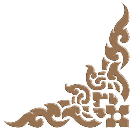 3D Holzschnitzerei mit thailändischem Muster Vektorgrafik