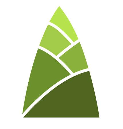 segno di germoglio di bambù verde isolare, vettore