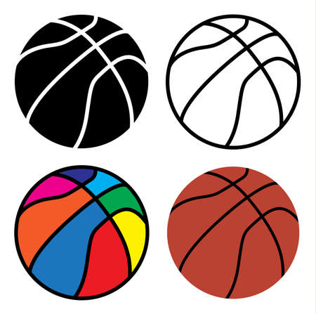 basketball ball set, line, black, colorful and orange color on white background