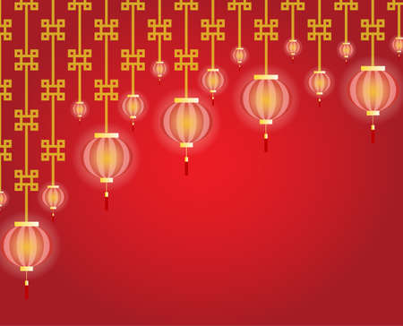 chinese greeting card with lamp and pattern art on red background