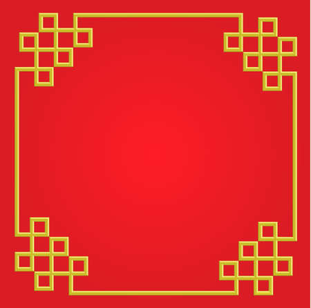 3D golden frame on red background, vector border card china style