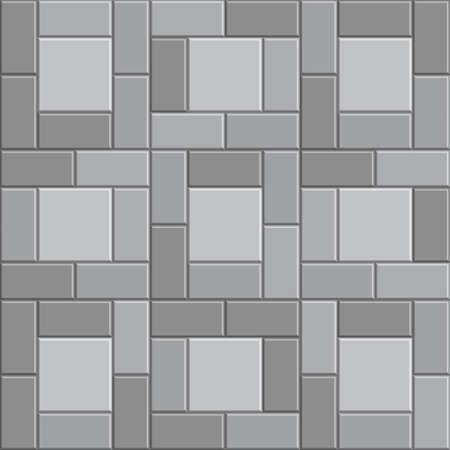 Pavé en pierre de brique 3D, trottoir gris de vecteur, fond de texture de voie en pierre