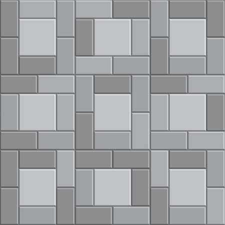 3D brick stone pavement, gray vector sidewalk, stone pathway texture background Illustration