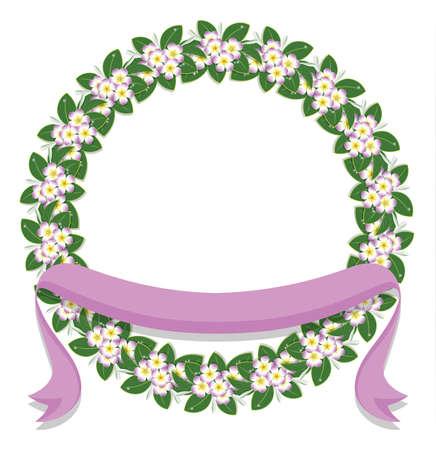 circle flower laurel wreath frame and pink  ribbon for wedding card frame, vector illustration Ilustrace