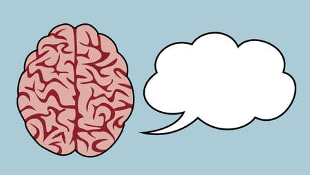 brain thinking concept with cloud speaking bubble