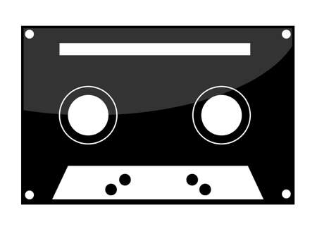 cassette tape icon on white background