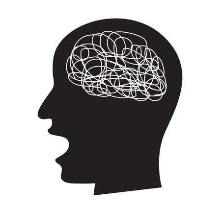 verwirrtes Konzept mit beschäftigtem Gehirn, Vektorzeichnung vector