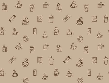 brown coffee icon set pattern seamless, vector illustration design for paper texture decoration backdrop menu