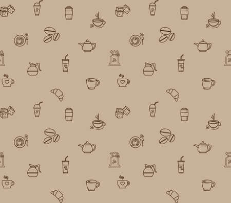coffee icon set pattern seamless, vector design for paper decorate background Reklamní fotografie - 126723445