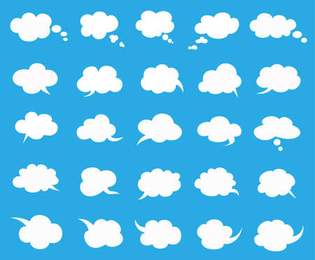 white clouds speak bubbles set on blue background, clouds speak icon