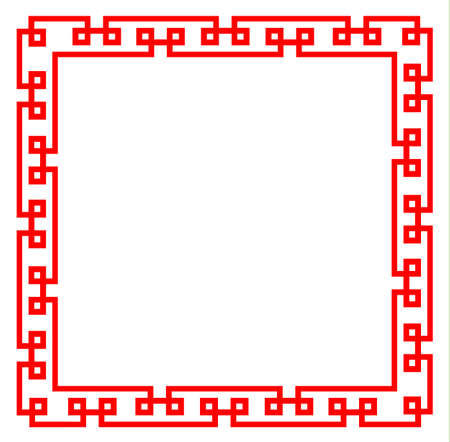 red chinese pattern frame on white background