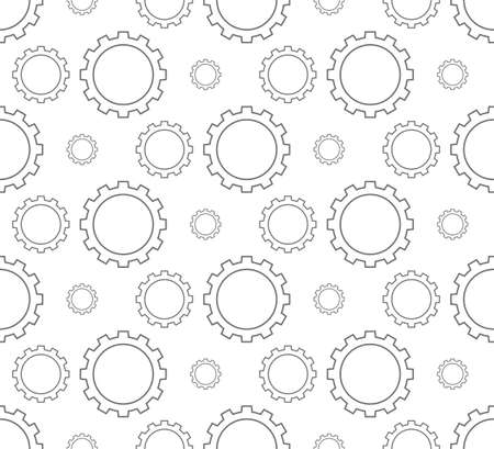 outline gear pattern seamless on white background, vector illustration