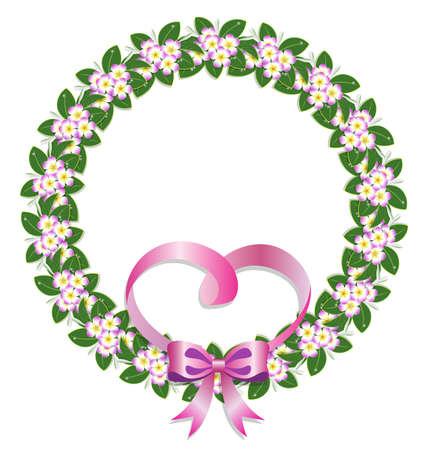 circle flower laurel wreath frame and pink heart ribbon for wedding card frame, vector illustration
