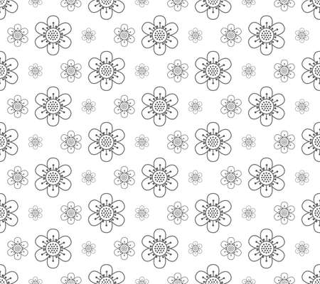 outline floral pattern seamless, flora vector illustration backdrop Reklamní fotografie - 128701743
