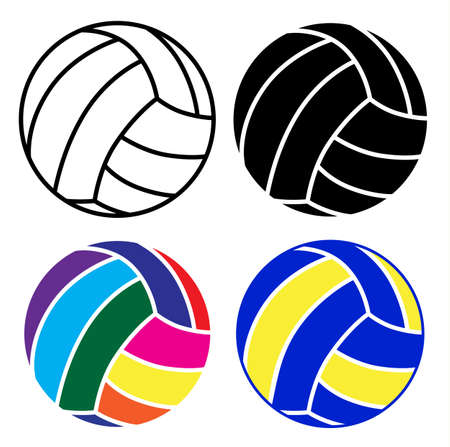 volleyball ball icon set with black, white and colorful ball on white background, vector illustration design Reklamní fotografie - 128701769