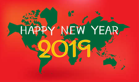 happy new year 2019 on world map and red background