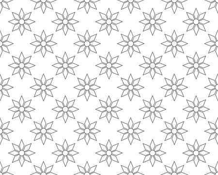 outline geometric floral pattern seamless, vector illustration background Reklamní fotografie - 128701759