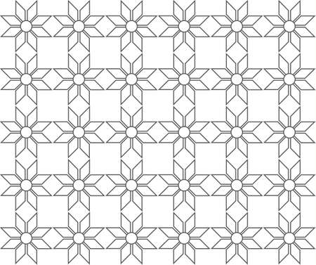 outline geometric floral pattern seamless, vector illustration background
