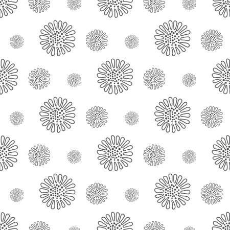 gray flower pattern seamless, line vector illustration backdrop Reklamní fotografie - 128701779