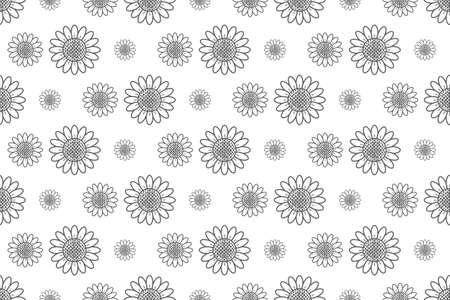 outline sunflower pattern seamless backdrop, vector illustration background Reklamní fotografie - 128701771