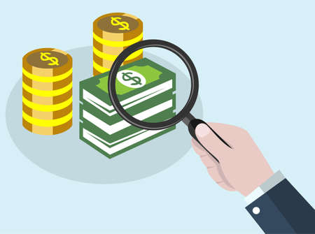 magnifying search money concept with business hand holding magnifier glass find money Reklamní fotografie - 128701800