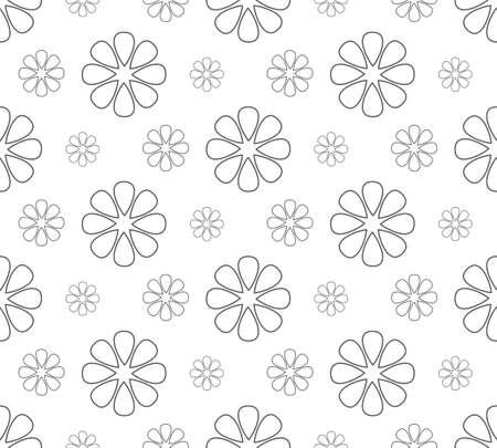 gray flower pattern seamless, line vector illustration backdrop