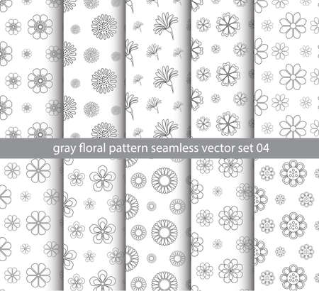 gray floral pattern seamless vector set for fabric, textile, decorate backdrop and gift paper background design Reklamní fotografie - 128701895
