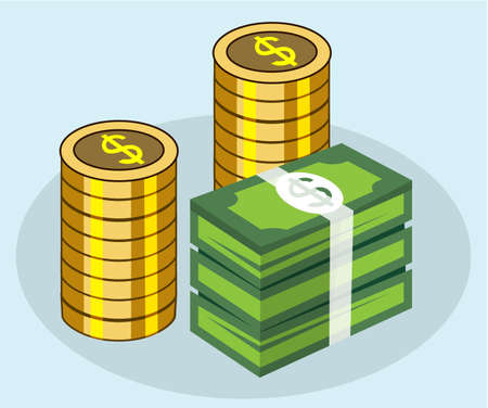 pile money and gold coin stack, finance concept, vector illustration Reklamní fotografie - 128701893