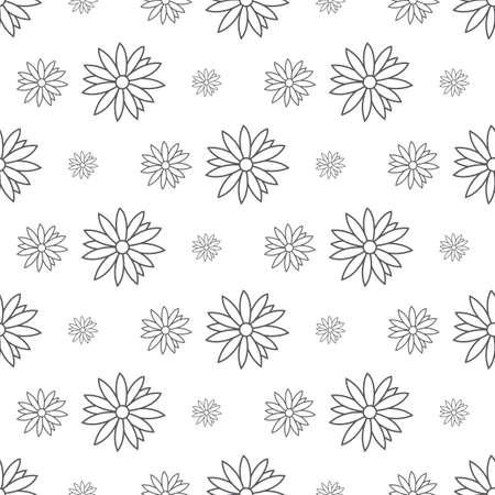gray flower pattern seamless, line vector illustration backdrop Reklamní fotografie - 128701918