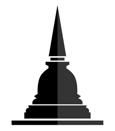 Thai pagoda sign icon, flat vector symbol on white background Reklamní fotografie - 128701910
